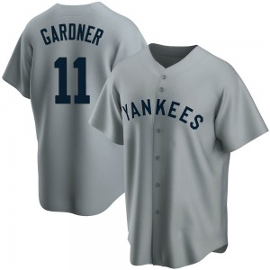 Youth New York Yankees Brett Gardner Replica Gray Road Cooperstown Collection Jersey