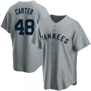 Youth New York Yankees Chris Carter Replica Gray Road Cooperstown Collection Jersey