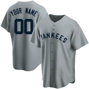 Youth New York Yankees Custom Replica Gray Road Cooperstown Collection Jersey