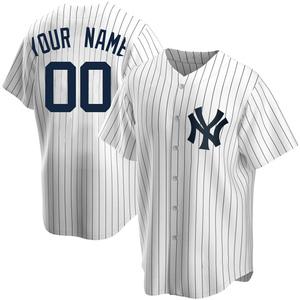 Youth New York Yankees Custom Replica White Home Jersey