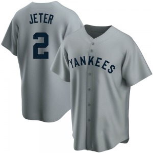 Youth New York Yankees Derek Jeter Replica Gray Road Cooperstown Collection Jersey