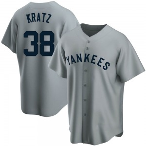 Youth New York Yankees Erik Kratz Replica Gray Road Cooperstown Collection Jersey