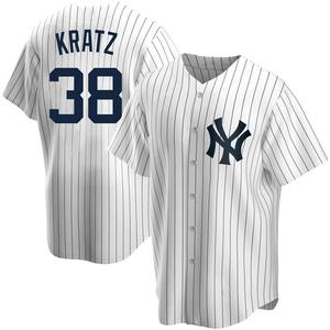 Youth New York Yankees Erik Kratz Replica White Home Jersey