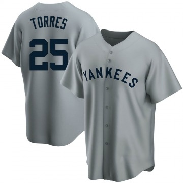 Youth New York Yankees Gleyber Torres Replica Gray Road Cooperstown Collection Jersey