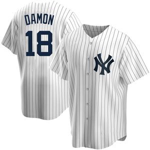 Youth New York Yankees Johnny Damon Replica White Home Jersey