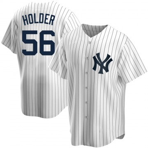Youth New York Yankees Jonathan Holder Replica White Home Jersey