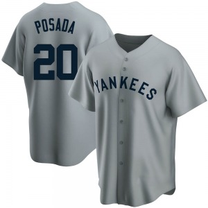 Youth New York Yankees Jorge Posada Replica Gray Road Cooperstown Collection Jersey