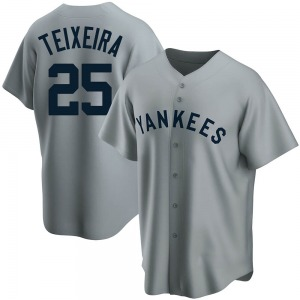 Youth New York Yankees Mark Teixeira Replica Gray Road Cooperstown Collection Jersey