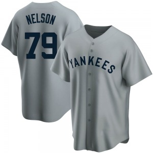 Youth New York Yankees Nick Nelson Replica Gray Road Cooperstown Collection Jersey