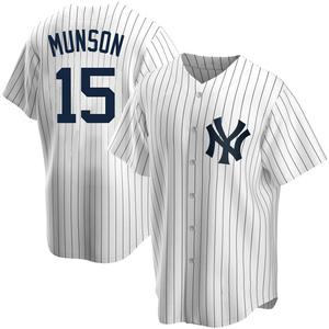 Youth New York Yankees Thurman Munson Replica White Home Jersey