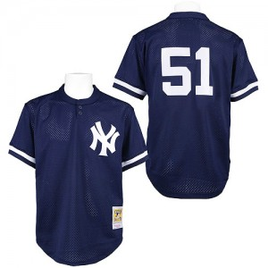 Men's Mitchell and Ness New York Yankees Bernie Williams Replica Blue 1995 Throwback Jersey