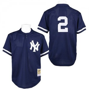 Men's Mitchell and Ness New York Yankees Derek Jeter Authentic Navy Blue Practice Throwback Jersey