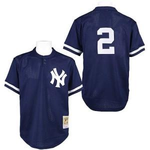 Men's Mitchell and Ness New York Yankees Derek Jeter Replica Navy Blue Practice Throwback Jersey