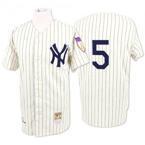 Men's Mitchell and Ness New York Yankees Joe DiMaggio Authentic White Throwback Jersey