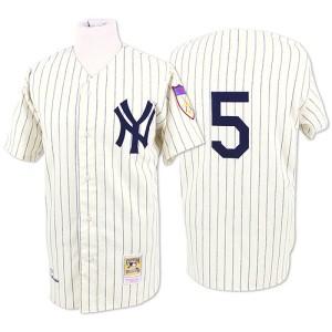 Men's Mitchell and Ness New York Yankees Joe DiMaggio Replica White Throwback Jersey