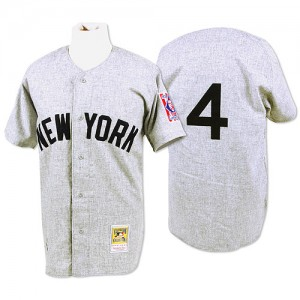 Men's Mitchell and Ness New York Yankees Lou Gehrig Replica Grey 1939 Throwback Jersey