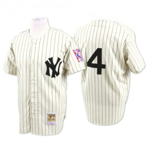 Men's Mitchell and Ness New York Yankees Lou Gehrig Replica White Throwback Jersey