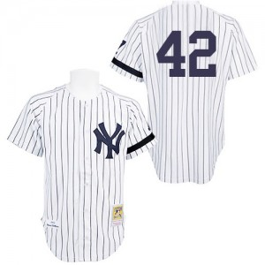 Men's Mitchell and Ness New York Yankees Mariano Rivera Replica White Practice Throwback Jersey