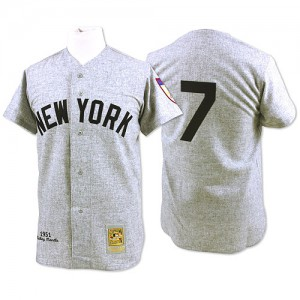 Men's Mitchell and Ness New York Yankees Mickey Mantle Replica Grey 1951 Throwback Jersey