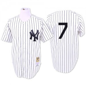Men's Mitchell and Ness New York Yankees Mickey Mantle Replica White 1951 Throwback Jersey