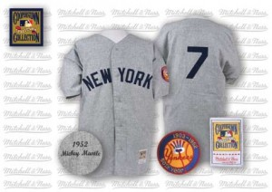 Men's Mitchell and Ness New York Yankees Mickey Mantle Replica Grey 1952 Throwback Jersey