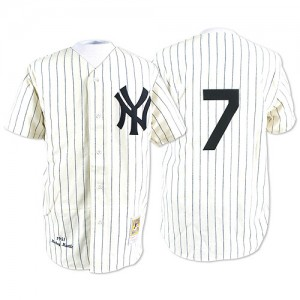 Men's Mitchell and Ness New York Yankees Mickey Mantle Replica White Throwback Jersey
