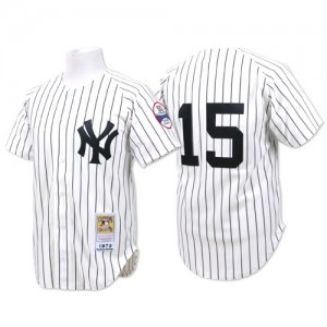 Men's Mitchell and Ness New York Yankees Thurman Munson Authentic White Throwback Jersey