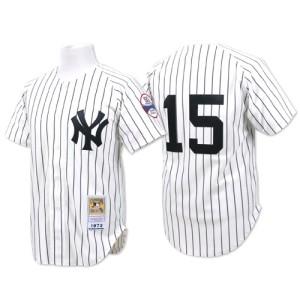Men's Mitchell and Ness New York Yankees Thurman Munson Replica White Throwback Jersey