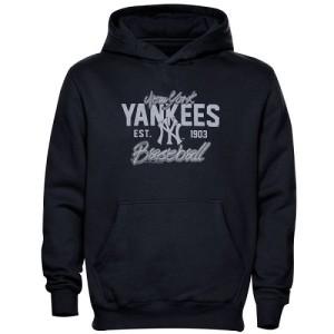 Men's New York Yankees Navy Blue Script Baseball Pullover Hoodie -